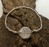 Blume des Lebens Armband mit Silberperlen