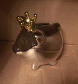 Sparschwein silber glänzend mit goldener Krone