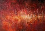 Gemälde abstrakte Landschafts Malerei Inferno handgemalt Acryl auf Leinwand Pappe 53x43 cm