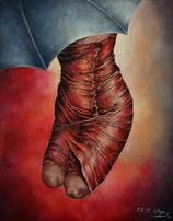 Gemälde groß Abstraktion Portrait Frau unter einem Schirm Originale Kunst signiert K. Styrnol Öl auf Leinwand