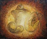 Aktbild Ölgemälde abstrakt Erotikkunst expressive Abstraktion signiert Leenknecht