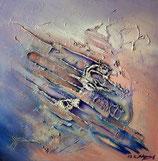 Abstrakte Landschaft Lawine Malerei moderne Kunst signiert K. Styrnol 80x80cm Acryl auf Leinwand