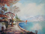 Gemälde- Öl - Idyllisches Küstenpanorama - Motiv: Seefahrt und Landschaft