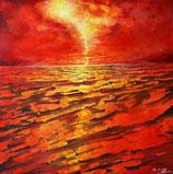 K. Styrnol feurige Landschaft Acryl auf Leinwand Gemälde Original zeitgenössische Malerei