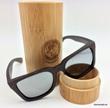 Polarisierte Bambus Sonnenbrille silber Gläser