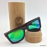 Polarisierte Bambus Sonnenbrille grüne Gläser