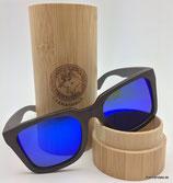 Polarisierte Bambus Sonnenbrille blaue Gläser