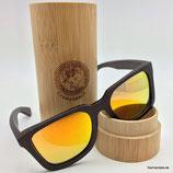 Polarisierte Bambus Sonnenbrille orange Gläser