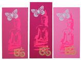"""3 Bilder """"Neon Buddhas"""" rosas"""