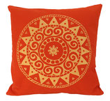 "Designer Sofa-Kissen ""Ur-Mandala Variation"" gross dunkelorange"