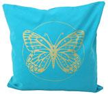 """Designer Sofa-Kissen-Bezug """"Butterfly"""" klein türkis"""
