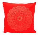 "Designer Sofa-Kissen-Bezug ""Madras Blüte"" rot gross"