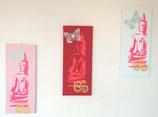 """3 Bilder """"Neon Buddhas"""" weiß-rosa"""