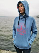 Damen Hooge Hoodie - Farbe Eisblau
