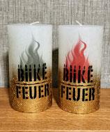Biike Feuer Metallic Rustic-Stumpenkerze fading ivory-gold (weiß-gold)