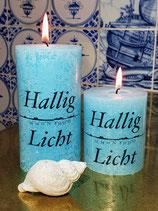Hallig Licht Rustic-Stumpenkerze aqua (blau)