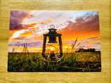 "Laterne im Sonnenuntergang - Wandbild als ""Forexplatte"""