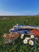 Strandholz Kunst - Küste gegen Plastik Wal
