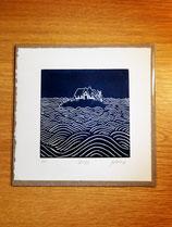 Original Linolschnitt Druck - Kleine Hallig im Meer