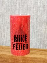 Biike Feuer - Rustic-Stumpenkerze (rot)