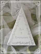 Dreieckschachtel zur Kommunion in hellgrün-silber