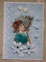 Frau mit Fächer blau-weiß