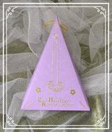 Dreieckschachtel zur heiligen Kommunion in lila-gold