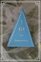 Dreieckschachtel zur Kommunion in blau-silber