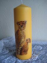 Kerze gelb mit Leopard