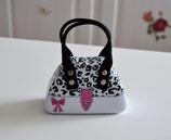 Handtaschen Dose weiß-schwarz-rosa