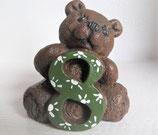 "Zahlenbär ""8"" grün-weiß"