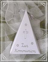 Dreieckschachtel zur Kommunion in perlmut-silber
