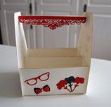 "Geschenkschachtel ""Kiste"" creme-rot-schwarz"