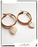 Classy earrings round big stain + 2 in 1 perlmutt coin
