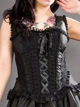 Jasmin-Vollbrust -Steampunk- Schnür-Korsett aus schwarzem Taff