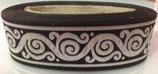 33 mm Borte Schnörkel schwarz/silber