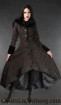 "Schwerer Langer Mantel ""Steampunk Evil Princess"" in schwarz-braunem Brokat  (DRA-31-11/12)"
