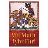 """Blechschild """"Ritter-Manesse-Mit Muth, fyhr Ehr!"""""""