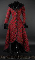 """Schwerer Langer Mantel """"Red Evil"""" in schwarz-rotem Jacquardstoff   (DRA-BR1-2/14-11)"""