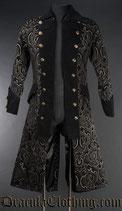 Brokat Pirate Mantel - Black Jacquard Pirate Coat (DRA-29-1-B)