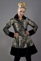 Mantel in gold-schwarzem Brokatstoff und Pelzbesatz  (BUR-PIR-COAT-kinggol)