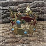 Krone aus stabilem Messing mit bunten Glassteinen