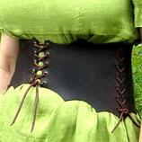 Breiter Miedergürtel aus stabilem braunem Leder mehrteilig (PP-SCHMieder)