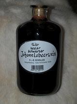 Schwarzer Johannesbeerwein - Fruchtwein (Scholles) in der 1 Liter-Apotheker-Flasche