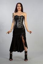 Aphrodite-Vollbrust -Steampunk- Schnür-Korsett aus schwarzem Twill und Lederimitat