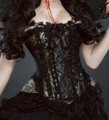 Jasmin-Vollbrust -Steampunk- Schnür-Korsett aus schwarz-goldenem Brokat  (Burleska JASOBKINGOL)