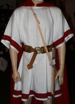 Römische Tunika Leinen weiss mit roten Streifen (Verlaine)