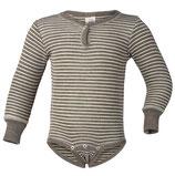 Baby-Body langarm, Feinripp, Wolle/Seide