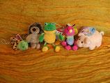 Schnecke, Igel, Frosch, Schmetterling, Schweinchen