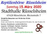 Eintrittskarte  Reptilienbörse Rüsselsheim 15.03.2020, Erwachsene